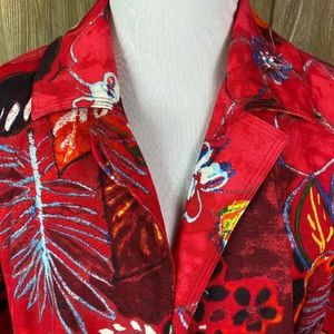 Chico's Jackets & Coats - Chicos Womens Red Abstract Art Floral Work Dress 2